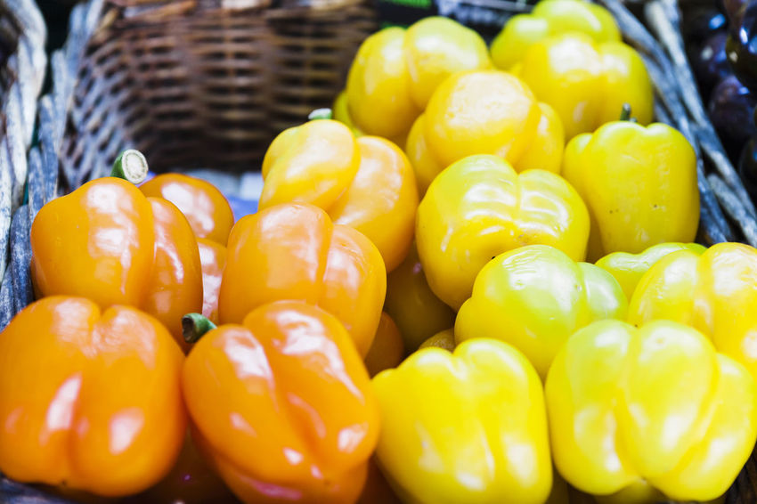 Abundance Basket Close-up Day Food Food And Drink For Sale Freshness Fruit Healthy Eating No People Outdoors Pepper Retail  Vegetable Yellow