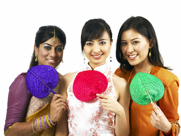 malaysia young woman in traditional costumes Friends Happiness Indian Traditional Clothing Baju Kebaya Bubby Cheongsam Chinese Fan Friendship Group Of People Harmony Malay Ethnicity Malaysian Merdeka Mixed Race Multi Racial Racial Sari Smiling Together Togetherness United White Background Women