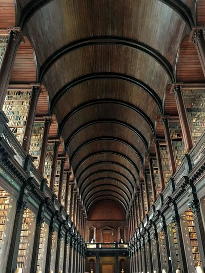 Long Room, Trinity College - Dublin Indoors  Travel Longroom Books Dublin, Ireland Low Angle View Ceiling Built Structure