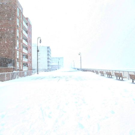 Long Beach, NY. Building Exterior City Architecture Built Structure Snow Outdoors Winter No People Clear Sky Cold Temperature Day Cityscape Skyscraper Long Beach beach Water New York Long Island