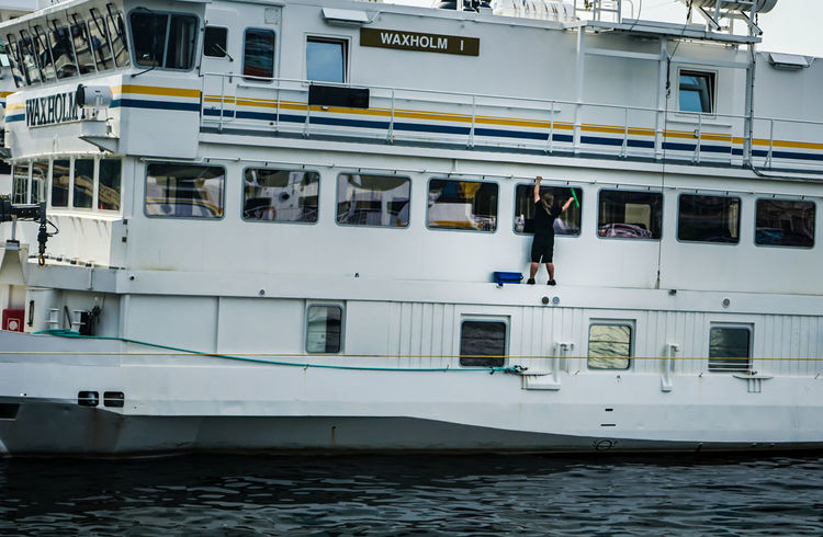 One step at a time... https://photobymaren.smugmug.com https://www.instagram.com/johnmaren/ https://www.photobymaren.com https://plus.google.com/u/0/+JohanMarengard Transportation Mode Of Transportation Water Nautical Vessel Real People Day Waterfront Outdoors Passenger Craft Cruise Ship Window Cleaner Window Cleaning
