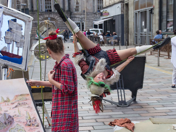 Donna Quixota, performed by Pina Polar. From the 2016 Merchant City Festival Acrobatics  Autumn City Life Crow Dreadlocks Glasgow  Green Hair Laugh Merchant City Merchant City Festival People Port Portrait Street Theatre Sweet Swing Tightrope Upstate New York Woman Working People And Places My Year My View