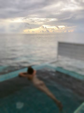Sea Chilling Vacations Maldives Sky Beach Nature Sunset