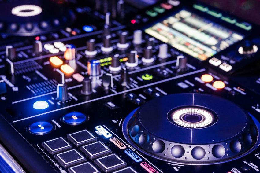 Pioneer RDJ-RX DJ deck in action during a gig. Audio Audio Equipment Audio Production Dj RDJ-RX Techno A Audio Console Audio Electronics Close-up Control Control Panel Dejay Dj Mixer Dj Mixing Desk Electronics Industry Music Pioneer Dj Sound Mixer Technology