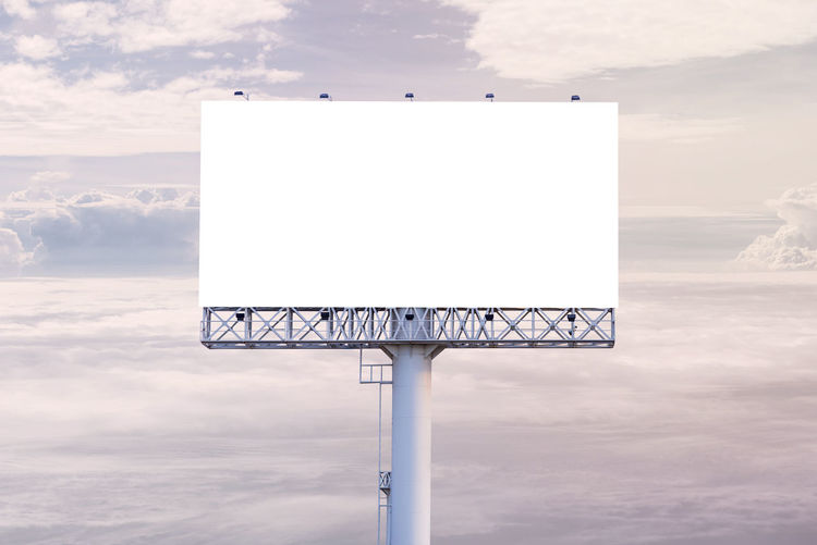 Advertisement Billboard Blank Board Cloud - Sky Communication Copy Space Day Geometric Shape Information Message Nature No People Outdoors Placard Rectangle Sign Sky Sport Text White Color