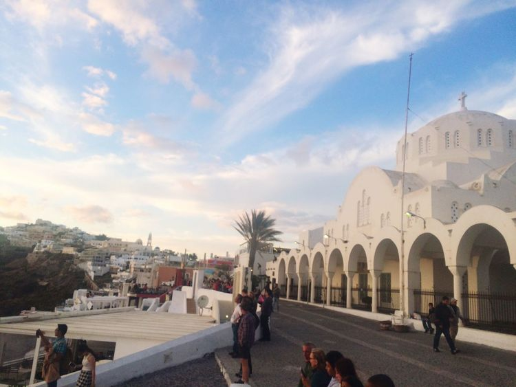 Fira Town, Santorini. May 2016 Tourism Travel Destinations Tourist Lifestyles Myfavoriteplace Travel Sky Vacations First Eyeem Photo