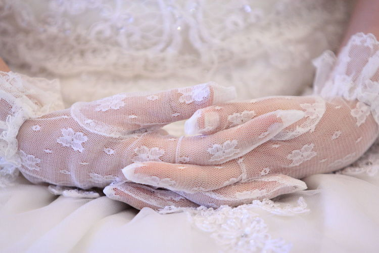 Wedding Gloves Hand Wedding Event Life Events Wedding Dress Clothing Glove Gloves Gloved Hand Celebration Lace - Textile Focus On Foreground Hand Bride Human Hand Textile Dress Close-up White Color