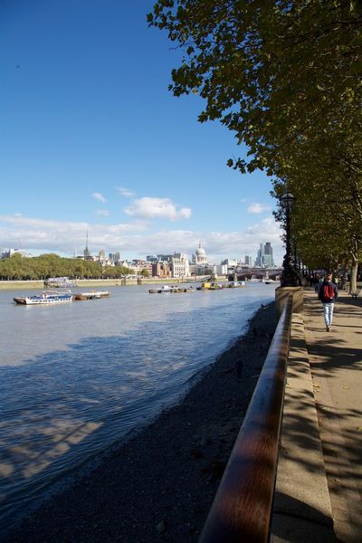 Architecture City Cityscape Clear Sky London View River Thames Bank Urban Skyline Water
