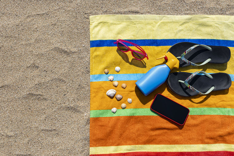 High angle view of stuffed toy on beach