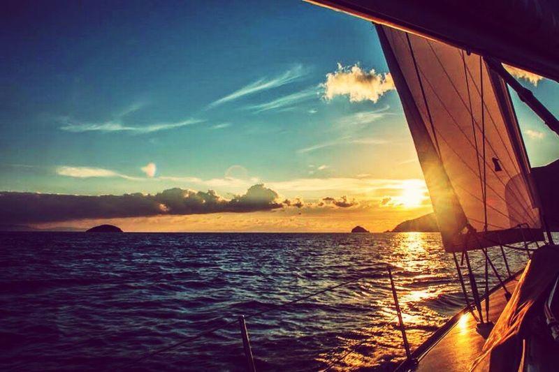 Water Sea Sunset Scenics Sky Tranquil Scene Horizon Over Water Sun Beauty In Nature Tranquility Cloud Idyllic Cloud - Sky Sunbeam Nature Coastline Blue Mode Of Transport Reflection Seascape