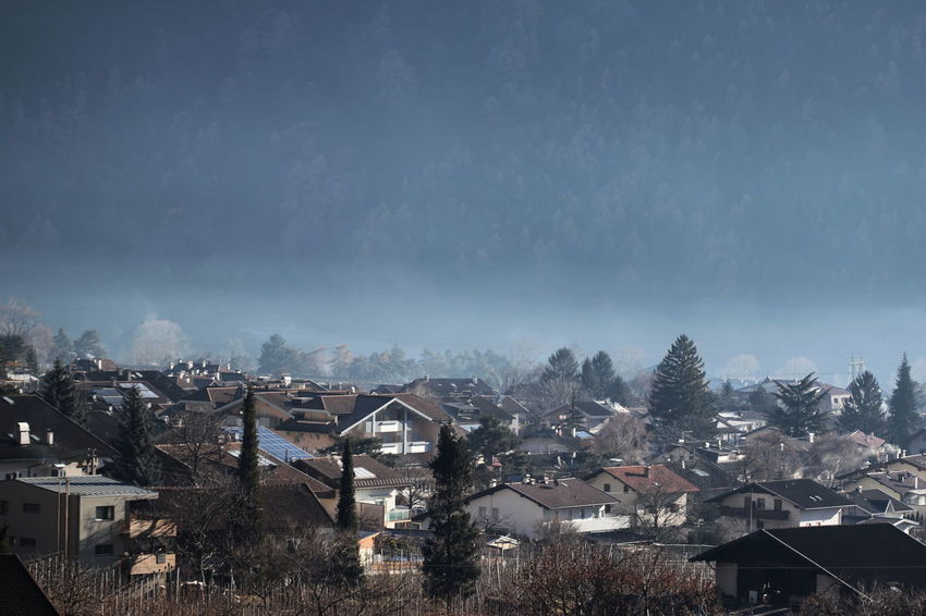 100mm Community Day DECEMBER2015 Fog Houses Human Settlement Landscape Mountain Outdoors Rabland,sudtirol Residential District Village Wintertime