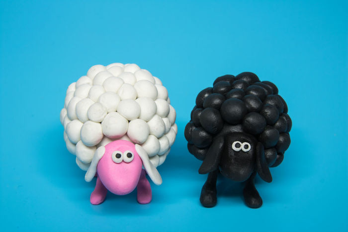 Concept - A black and a white polymer clay sheep placed next to each other. This concept photo represents the contrast. It can be perceived as good vs. bad or right vs. wrong. The black sheep is considered to be the negative one. The sheep are made of polymer clay and look cute and fluffy, conveying the idea of opposites in a soft manner. Analogy Art Bad Black Comparison Concept Contrast Craft Cute Difference  Discrimination Dualism Evil Fluffy Funny Furry Good Innocent Opposite Polymer Clay Right Sheep Similar White Wrong