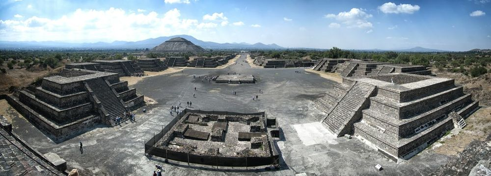 Tehotihuacan Mexico Travel Destinations Architecture Built Structure History Ancient Aztecs Aztec Ruins National Monument Panorama Panoramic View Panoramic Landscape Panorama View