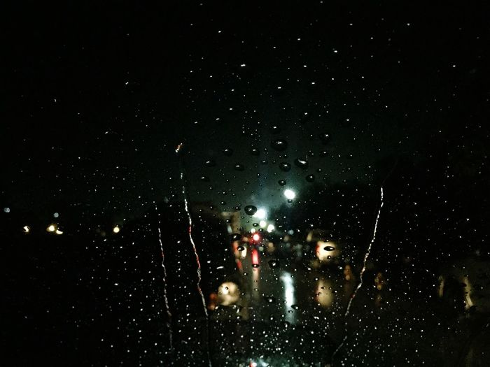 Hevy rain through wind screen Night Illuminated No People Land Vehicle Indoors  Sky Nature Windscreen View Hevy Rain In Car