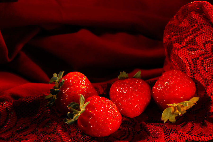 Red Fruit Berry Fruit Strawberry Close-up Still Life Studio Shot Lace Red Lace