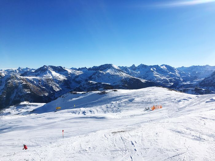 Winter Snow Cold Temperature Blue Mountain Nature Scenics Landscape Non-urban Scene Beauty In Nature Clear Sky Tranquility Day Real People Ski Holiday Skiing Tranquil Scene Adventure Sky