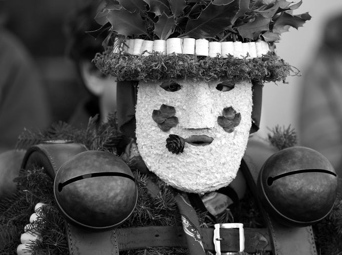 """Schöé-Wüescht*-Mask on Old Year's Day in Teufen Appenzell Appenzellerland Black And White Brauchtum Close-up Happy New Year Living Traditions Masks Old Year Olympus OM-D E-M1 Mark II Pagan Customs Saint Sylvester Schön-Wüeschte SilvesterChlausen Silvesterklaus Switzerland Teufen Tourism Tourist Attraction  Tradition Traditional Costume"