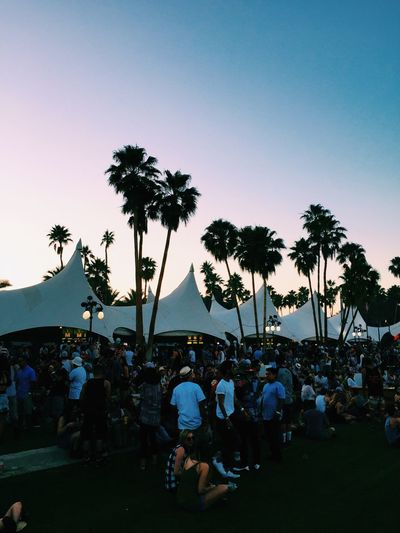 View of people gathered by tent and palm trees against sky at dusk