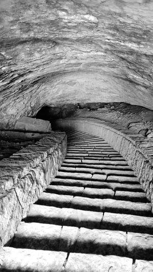 Stairways to the cave Stairways Cave Stone Blackandwhite Nature Magurata Bulgaria Monochrome Photography