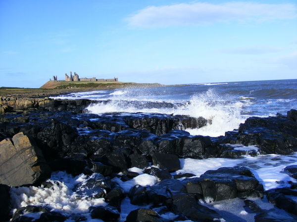 Dunstanburgh Idyllic Nature North East Coast Northumberland Coastline Rocks Rocks And Water Scenic Scenic View Sea Sea And Rocks Sky Tranquil Scene Tranquility Water Waves Waves And Rocks Waves Crashing Waves, Ocean, Nature