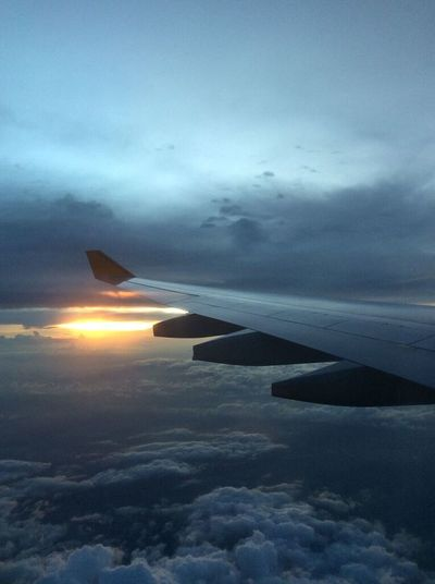 Flying into the night. Airplane Aviation Dusk Flying InFlightPhoto Journey Travel Nightflight Wingview