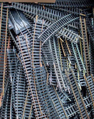 An old box of old train tracks for a model railroad is for sale at a toy swap meet in indiana usa