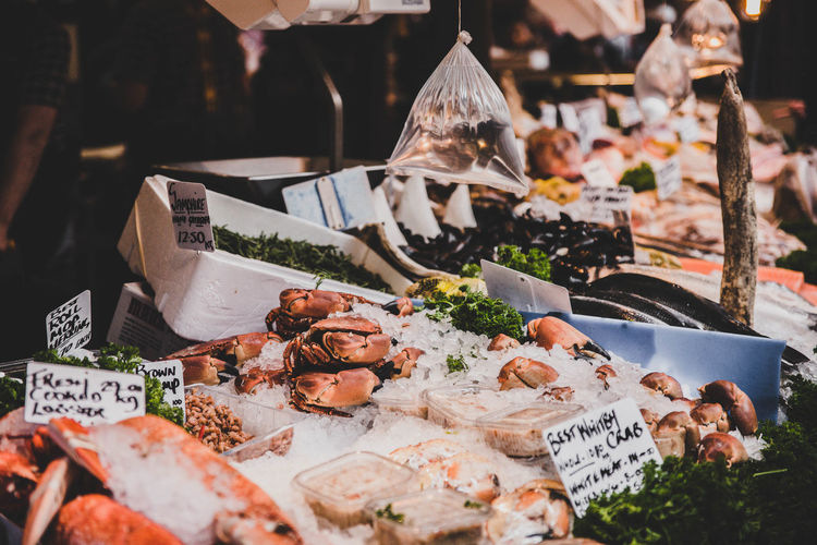 Seafood for sale at market stall