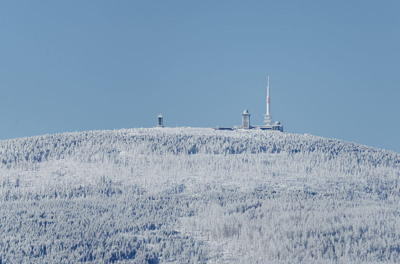 Snow on field against clear sky