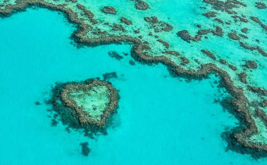 High angle view of heart shape on sea