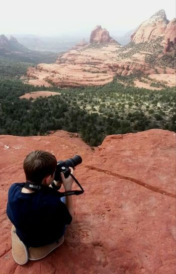 Sedona, Az Young Photographer in the making Mountain Desert Rear View One Person Mountain Range Landscape Adventure Camera - Photographic Equipment Arid Climate Outdoors
