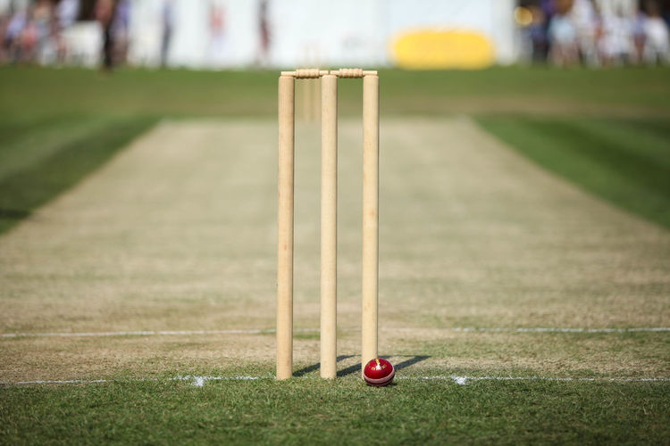 Cricket Ball By Stump On Playing Field