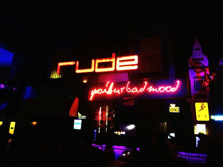 Rude Lounge EyEmNewHere Night Lights Resto Birthdaynight Party Time Love To Take Photos ❤ Night Text Illuminated Neon Outdoors No People City