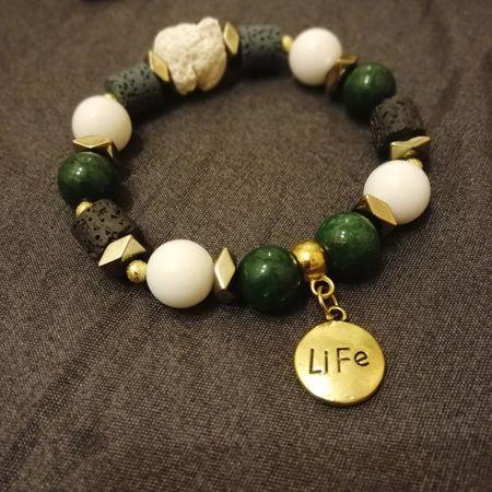 Life is live. Handmade Beaded Jewelry Bead Bracelet Bracelet Beads Text Life Charm Charm Bracelet Gemstones Gemstone  Green Color White Gold Colored Hobby Etsy Jewellery Precious Gem Bangle Semi-precious Gem Bead
