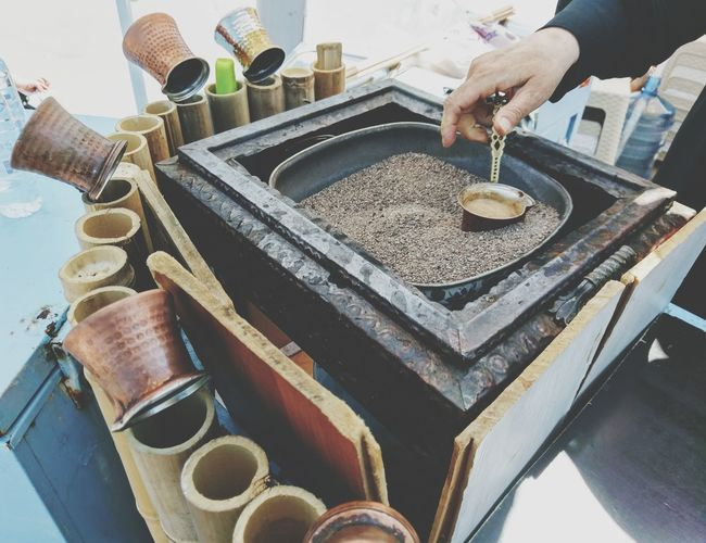 Hot Sand Yalova Turkish Coffee In The Sand Human Hand Business Finance And Industry Close-up Summer Exploratorium