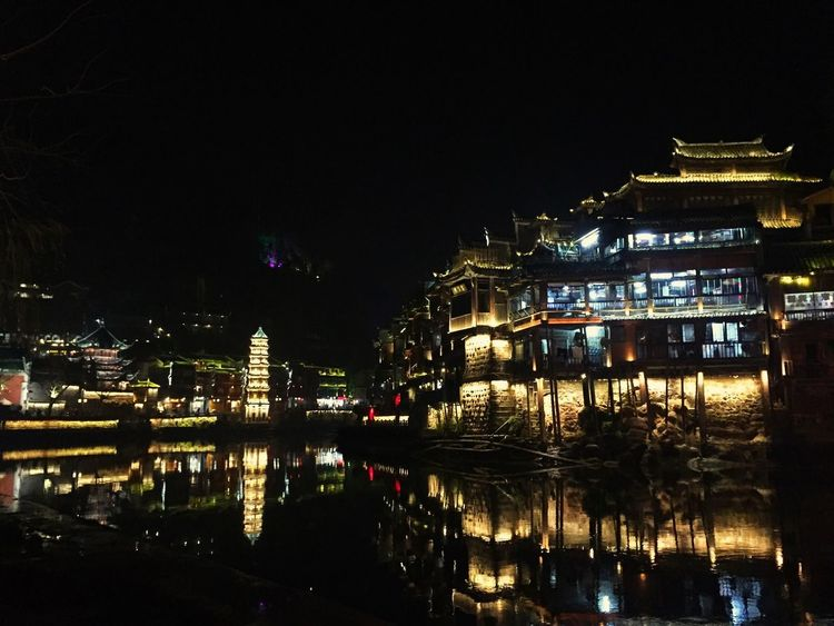 Architecture Building Exterior Built Structure Night Illuminated Reflection City Travel Destinations Waterfront Water Outdoors Sky No People FengHuang