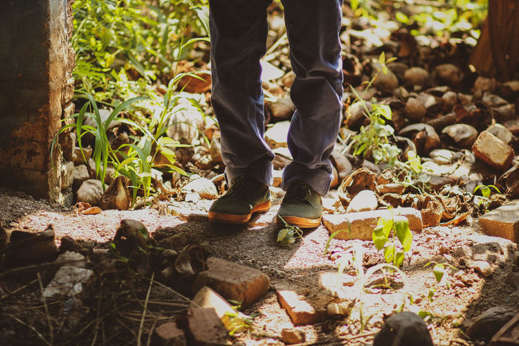 explore part II Outdoor Greenery Light And Shadow Foliage Aesthetic Moody Abandoned Abandoned Places Ground Walking Exploring Wander Travel Low Section Standing Human Leg Shoe Human Foot Limb Close-up Leg Canvas Shoe Footwear Human Feet EyeEmNewHere