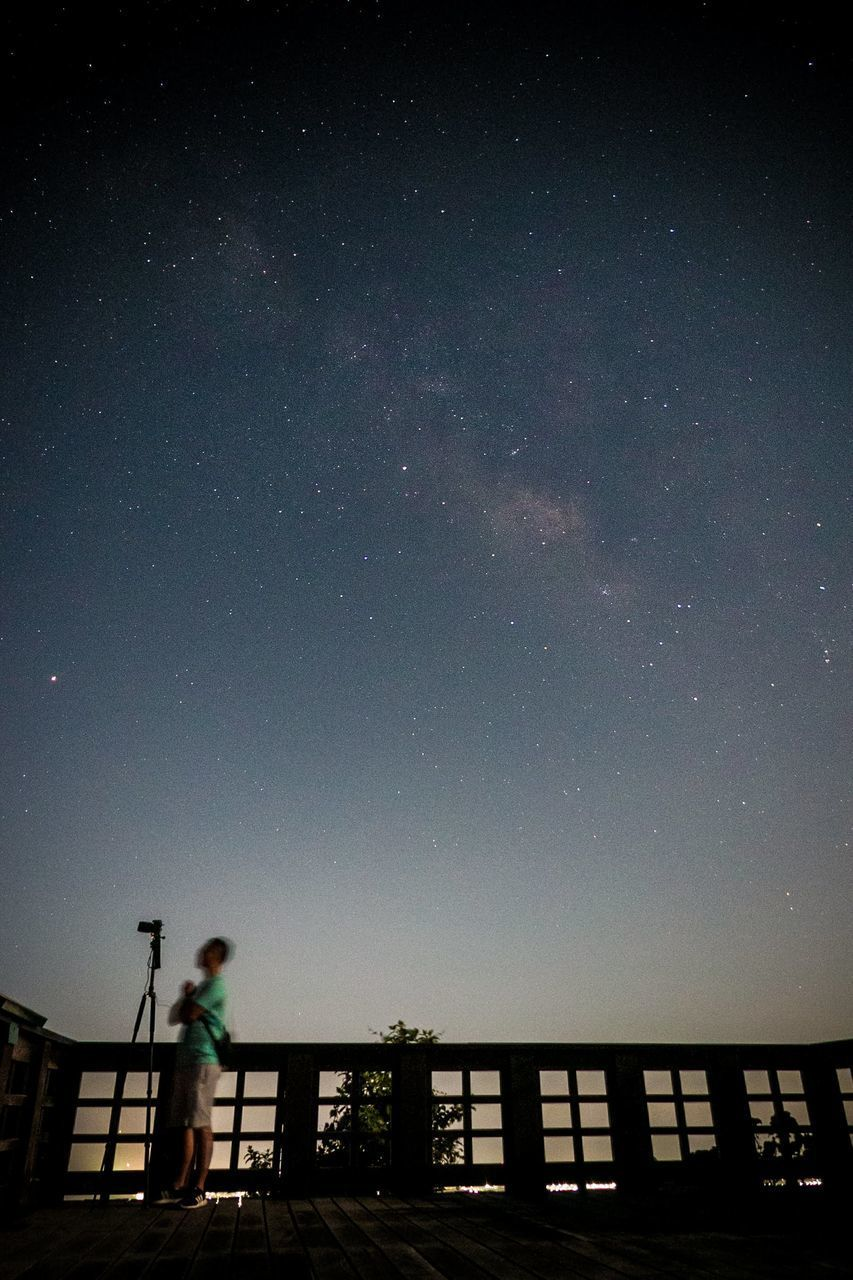 sky, night, star - space, space, nature, architecture, astronomy, real people, railing, people, standing, silhouette, lifestyles, built structure, low angle view, star, men, scenics - nature, beauty in nature, outdoors