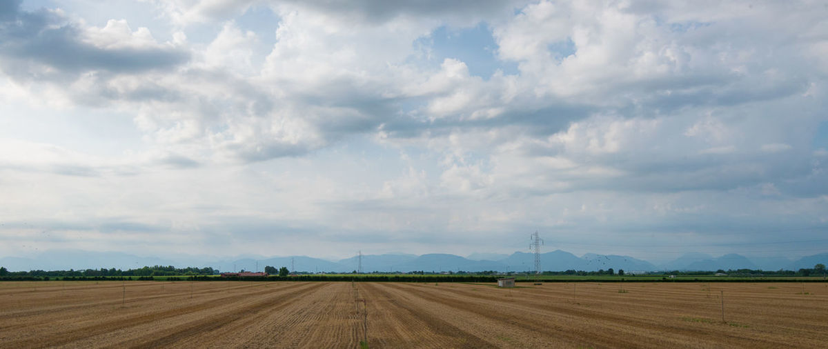 Italian landscape in Friuli Venezia Giulia. Fields, grass and blue sky with clouds Agriculture Beauty In Nature Blue Cloud Cloud - Sky Cloudy Field Grass Horizon Over Land Landscape Nature No People Non-urban Scene Outdoors Rural Scene Sky Tranquil Scene Tranquility Weather