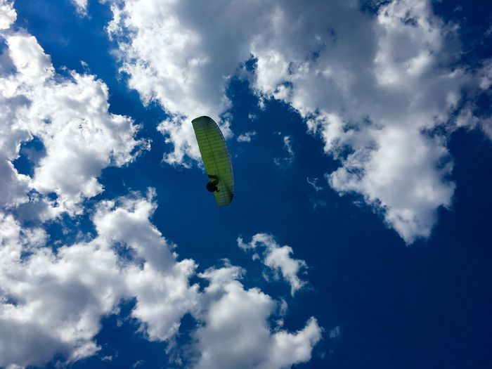 Paraglider.... Bavaria Germany Travel Destinations Travel Mountain EyeEm Nature Lover Eye4photography  EyeEmNewHere EyeEm Best Shots Holiday Sport Extremsport Parachute Paragliding Clouds Sky Low Angle View Day Blue Beauty In Nature Flying Tranquility Lifestyles