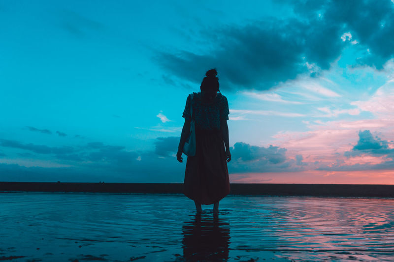 Rear view of silhouette man standing in sea against sky