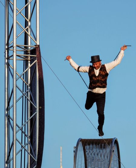 Nebraska State Fair August 2016 Grand Island, Nebraska -- Flippin' - A Steam Punk Theme Aerial & Acrobatic Spectactular Acrobatics  Action Shot  Balancing Act Camera Work Clear Sky Danger Dangerous Daredevil Day Decisive Moment EyeEm Gallery Full Length Jumping Low Angle View Mid-air Nebraska Outdoors Performance Performing Arts Photography Photojournalism State Fair Steam Punk Stunt Stunts