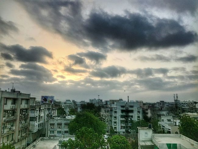 Cloud - Sky Architecture Cityscape City Building Exterior Sunset Dramatic Sky Built Structure Sky High Angle View Outdoors No People Storm Cloud Residential Building Urban Skyline Nature Day Tree Mix Yourself A Good Time