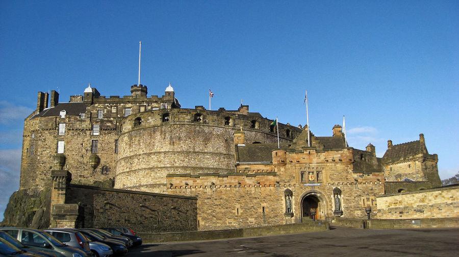 Edinburgh castle against clear blue sky