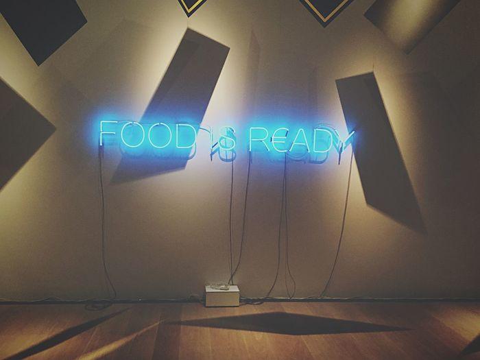 Text Indoors  Illuminated No People Food Is Ready :3