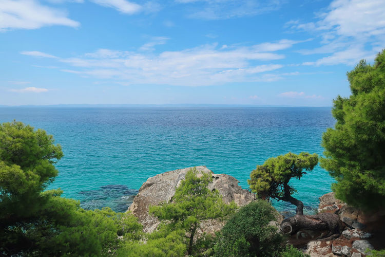 Sithonia, Greece Sea Water Nature Sky Landscape Blue Travel Tranquility Greece Horizon Plant Beauty In Nature No People GREECE ♥♥ Aegean Sea Chalkidiki Idyllic Sithonia Tranquil Scene Horizon Over Water Cloud - Sky Turquoise Colored Greece Photos Scenics - Nature Non-urban Scene Rock Outdoors Tree Day