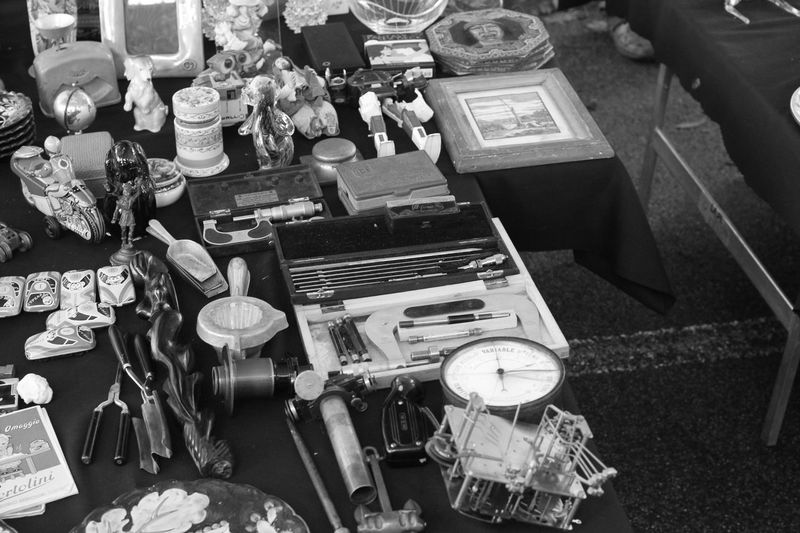 Black And White Bric à Brac Day Market Outdoor Market Shopping Stalls Stalls At Sunday Market Sunday