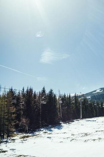 Cold Temperature Landscape Nature Outdoors Scenics Ski Lift Snow Sunlight Tranquility Winter