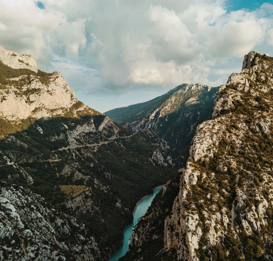Embouchure des gorges du Verdon Mountain Scenics - Nature No People Nature Beauty In Nature Day Rock Tranquil Scene Tranquility Rock - Object Non-urban Scene Solid Outdoors Cloud - Sky Sky Environment Mountain Range Landscape Formation Rough Mountain Peak Eroded