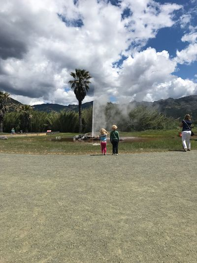 "Sam & Violet at a geyser in Calistoga, CA. The original developer/ promoter thought the place was a rival to Saratoga, a hot springs in New York State, & once announced that ""We want to make a Calistoga in Sarafornia!"" Of course, that name stuck. 172287"