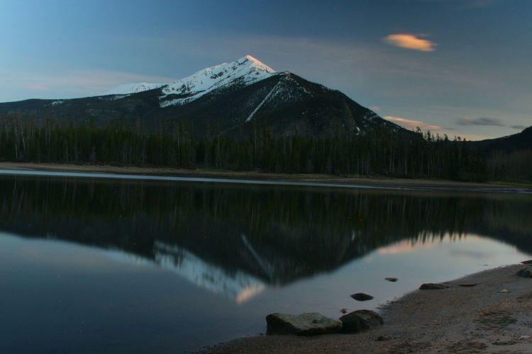 Sunset Coloradogram Mountains Lake Landscape Water Long Exposure Reflection